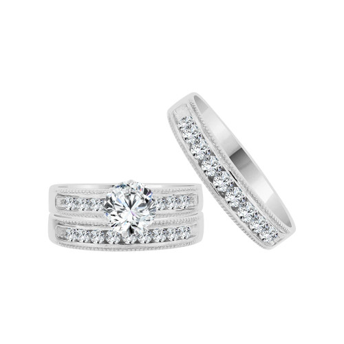 14k White Gold, His & Her Trio 3 Piece Wedding Ring with Cubic Zirconia 1.0ct (R038-056)