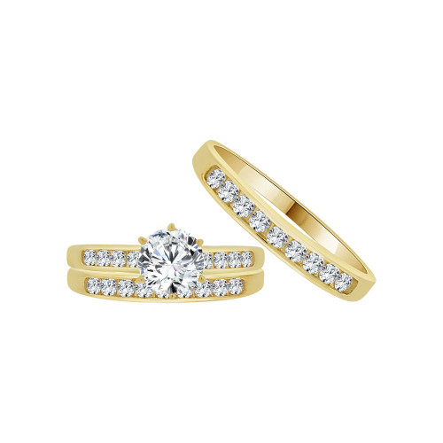 14k Yellow Gold, Trio 3 Piece Wedding Engagement Ring Set Cubic Zirconia 1.0ct (R054-014)