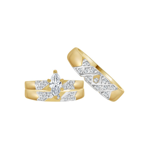 14k Yellow Gold White Rhodium, Trio 3 Piece Wedding Ring Set Marquise Cubic Zirconia 1.0ct (R054-018)