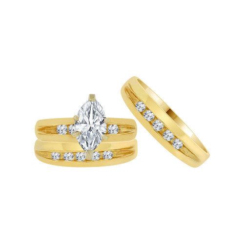 14k Yellow Gold, Trio 3 Piece Wedding Ring Set Marquise Cubic Zirconia 1.0ct (R054-020)