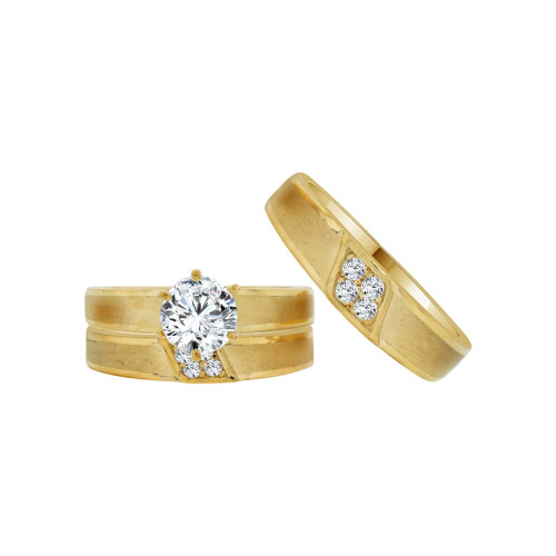 14k Yellow Gold, Matching Trio 3 Piece Set Engagement Rings Round Cubic Zirconia 1.0ct (R054-025)
