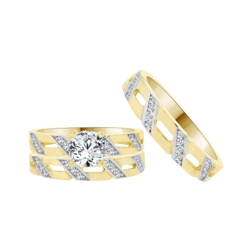 14k Yellow Gold White Rhodium, Trio 3 Piece Set Engagement Rings Round Cubic Zirconia 1.0ct (R054-027)