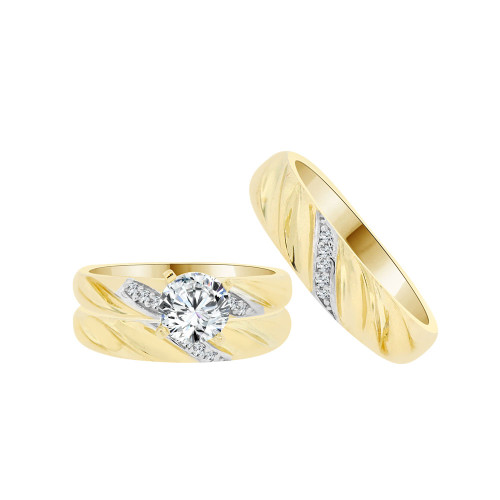 14k Yellow Gold White Rhodium, Trio 3 Piece Set Engagement Rings Round Cubic Zirconia 1.0ct (R054-028)