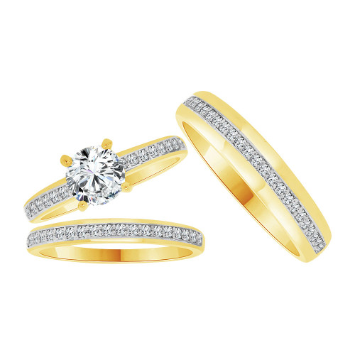 14k Yellow Gold White Rhodium, Trio 3 Piece Set Engagement Rings Round Cubic Zirconia 1.0ct (R054-029)
