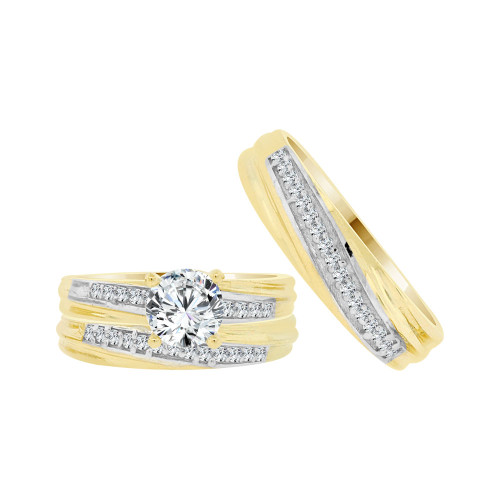 14k Yellow Gold White Rhodium, Trio 3 Piece Set Engagement Rings Round Cubic Zirconia 1.0ct (R054-030)