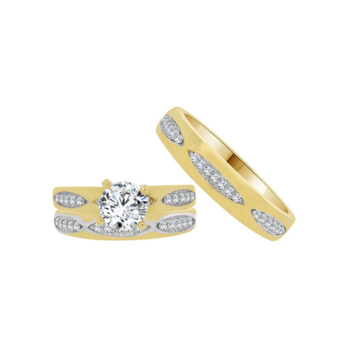 14k Yellow Gold White Rhodium, Trio 3 Piece Set Engagement Rings Round Cubic Zirconia 1.0ct (R054-031)