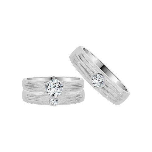 14k White Gold, Trio 3 Piece Wedding Engagement Ring Set Round Cubic Zirconia 1.0ct (R054-057)
