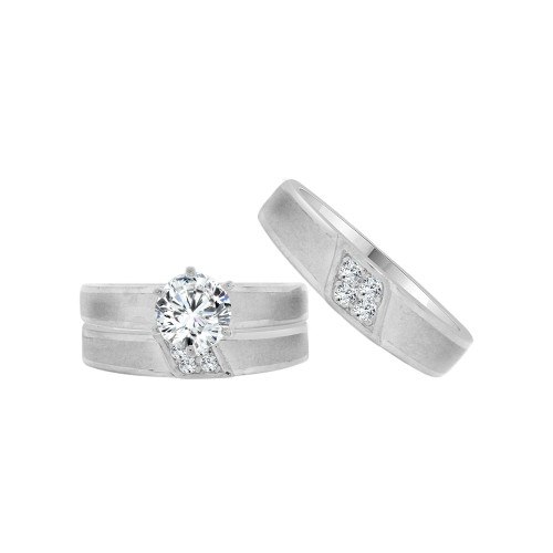 14k White Gold, Matching Trio 3 Piece Set Engagement Rings Round Cubic Zirconia 1.0ct (R054-075)