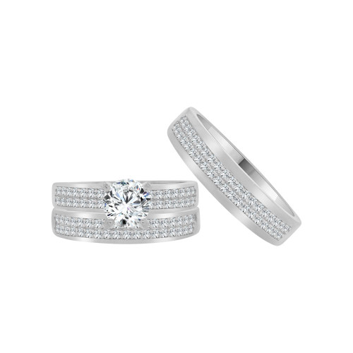 14k White Gold, Matching Trio 3 Piece Set Engagement Rings Round Cubic Zirconia 1.0ct (R054-076)