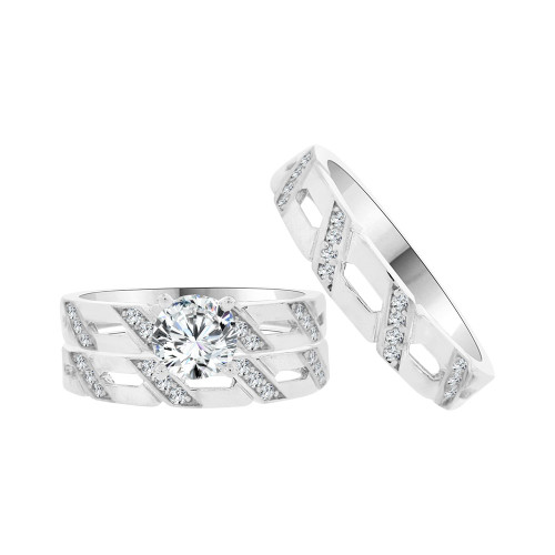 14k White Gold, Matching Trio 3 Piece Set Engagement Rings Round Cubic Zirconia 1.0ct (R054-077)