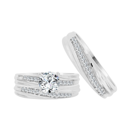 14k White Gold, Matching Trio 3 Piece Set Engagement Rings Round Cubic Zirconia 1.0ct (R054-080)