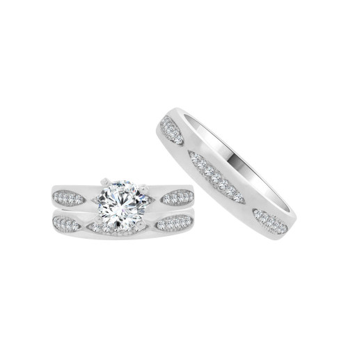 14k White Gold, Matching Trio 3 Piece Set Engagement Rings Round Cubic Zirconia 1.0ct (R054-081)