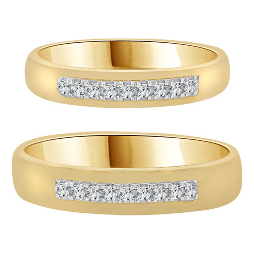 14k Yellow Gold, White Rhodium, His & Her Duo 2 Piece Set Rings Cubic Zirconia (R055-023)