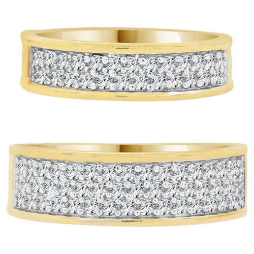 14k Yellow Gold, White Rhodium, His & Her Duo 2 Piece Set Rings Cubic Zirconia (R055-024)