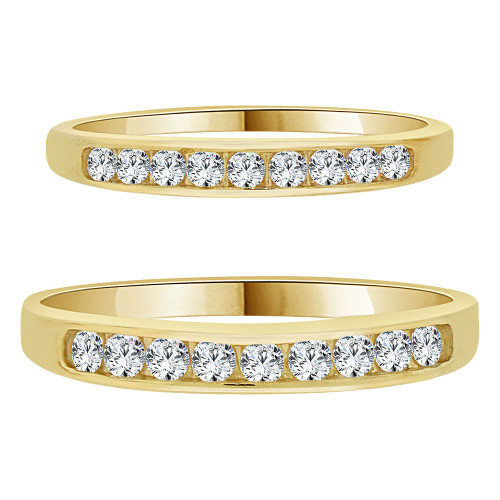 14k Yellow Gold, His & Her Duo 2 Piece Set Rings Cubic Zirconia (R055-027)