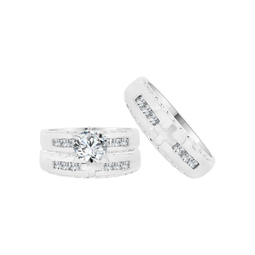 14k White Gold, Cross Design Trio 3 Piece Set Engagement Rings Round Cubic Zirconia 1.0ct (R055-062)
