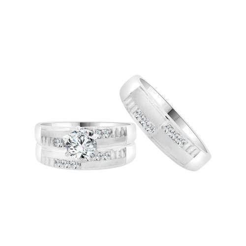 14k White Gold, Trio 3 Piece Set Engagement Rings Round Cubic Zirconia 1.0ct (R055-070)