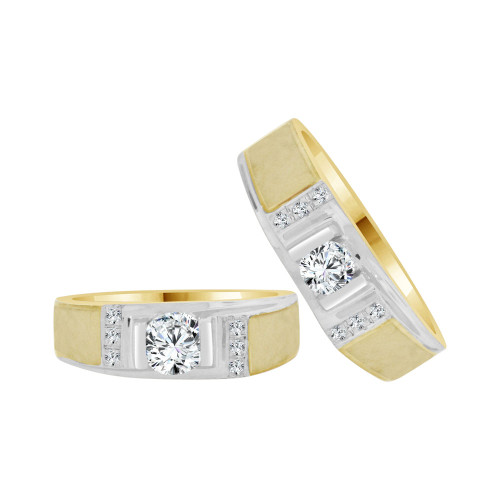 14k Yellow Gold White Rhodium, His & Her Matching Duo Set Band Rings Cubic Zirconia (R056-004)