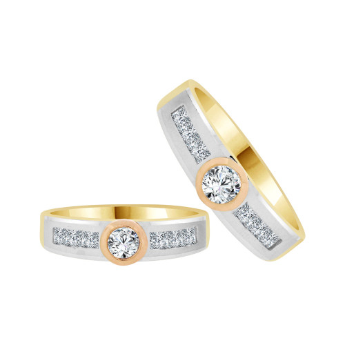 14k Tircolor Gold, His & Her Matching Duo Wedding Promise Bands Cubic Zirconia (R056-005)