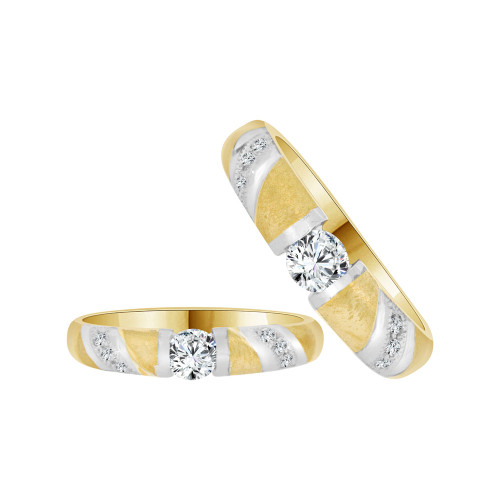 14k Yellow Gold White Rhodium, Matching Duo Wedding Ring Promise Bands Cubic Zirconia (R056-006)