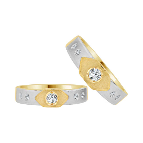 14k Yellow Gold White Rhodium, Matching Duo Wedding Ring Promise Bands Cubic Zirconia (R056-007)
