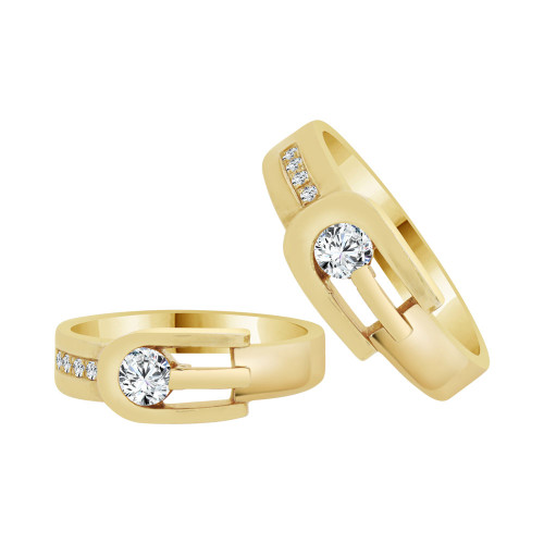 14k Yellow Gold, His & Her Matching Duo Wedding Promise Ring Bands Cubic Zirconia (R056-008)