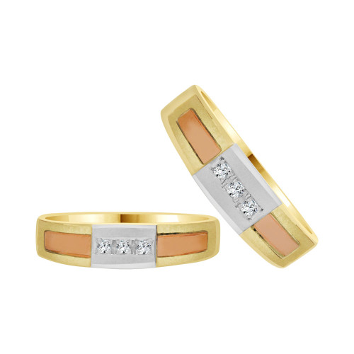 14k Tricolor Gold, His & Her Matching Duo Wedding Promise Ring Bands Cubic Zirconia (R056-009)