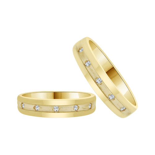 14k Yellow Gold, His & Her Matching Duo Wedding Promise Ring Bands Cubic Zirconia (R056-012)