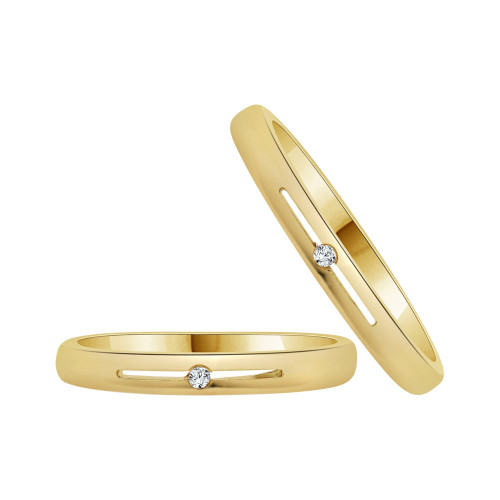 14k Yellow Gold, Dainty Thin Matching Duo Wedding Promise Ring Bands Cubic Zirconia (R056-013)