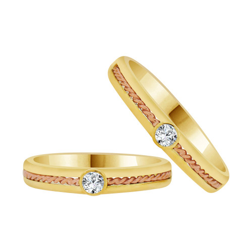 14k Yellow & Rose Gold, Dainty Thin Matching Wedding Promise Ring Bands Cubic Zirconia (R056-014)