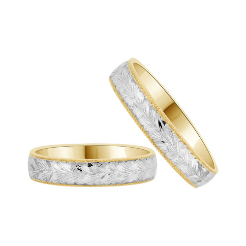 14k Yellow Gold White Rhodium, Fancy Engraved Matching Wedding Promise Band Rings (R056-016)