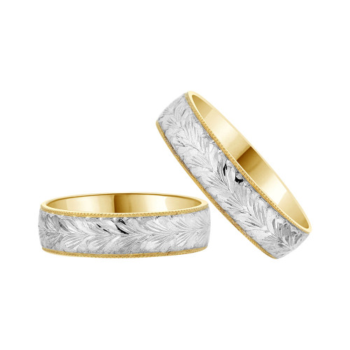 14k Yellow Gold White Rhodium, His & Her Fancy Engraved Matching Wedding Promise Band Rings (R056-017)