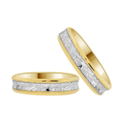 14k Yellow Gold White Rhodium, His & Her Fancy Engraved Matching Wedding Promise Band Rings (R056-018)