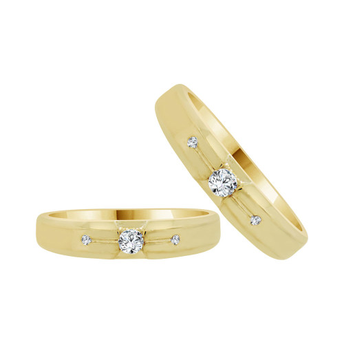 14k Yellow Gold, His & Her Matching Wedding Promise Ring Bands Cubic Zirconia (R056-019)