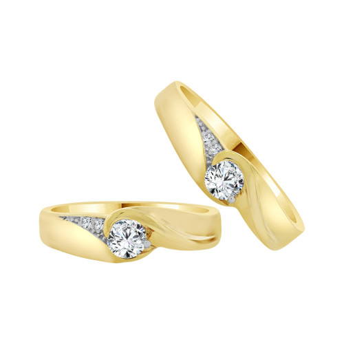 14k Yellow Gold, His & Her Matching Wedding Promise Ring Bands Cubic Zirconia (R056-020)