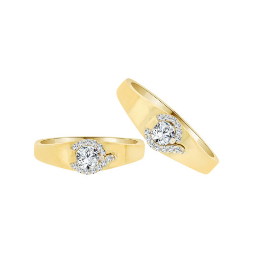 14k Yellow Gold, His & Her Matching Wedding Promise Ring Bands Cubic Zirconia (R056-021)