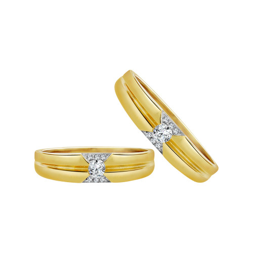 14k Yellow Gold, His & Her Matching Wedding Promise Ring Bands Cubic Zirconia (R056-022)