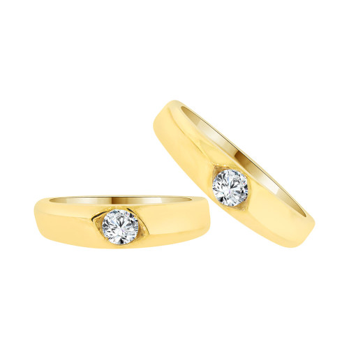 14k Yellow Gold, His & Her Matching Wedding Promise Ring Bands Cubic Zirconia (R056-023)