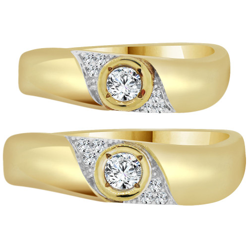 14k Yellow Gold, His & Her Matching Wedding Promise Ring Bands Cubic Zirconia (R056-024)