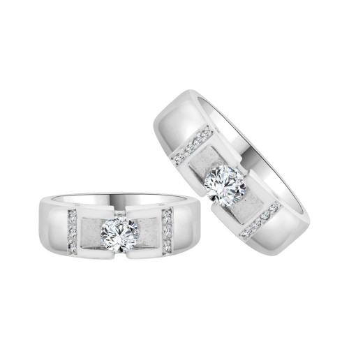 14k White Gold, His & Her Matching Duo Wedding Promise Bands Cubic Zirconia (R056-052)