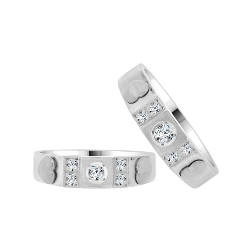 14k White Gold, Heart Design Matching Duo Wedding Promise Bands Cubic Zirconia (R056-053)