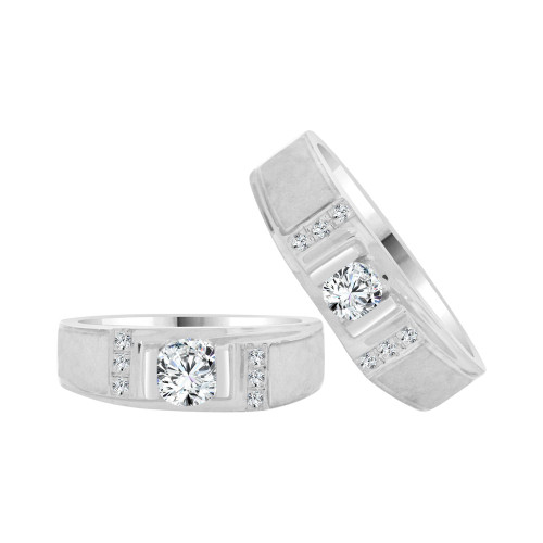 14k White Gold, His & Her Matching Duo Wedding Promise Bands Cubic Zirconia (R056-054)