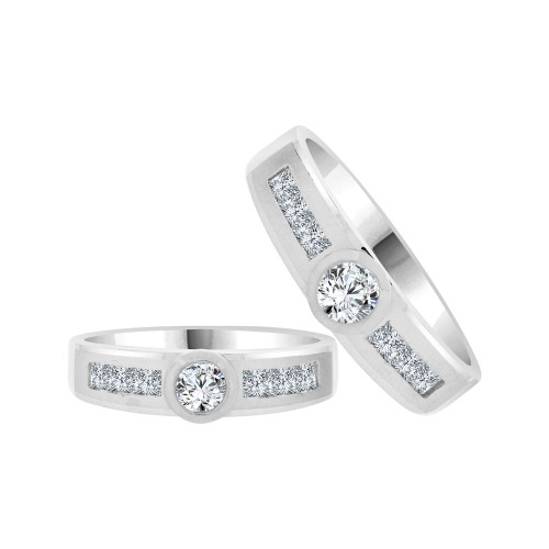 14k White Gold, His & Her Matching Duo Wedding Promise Bands Cubic Zirconia (R056-055)