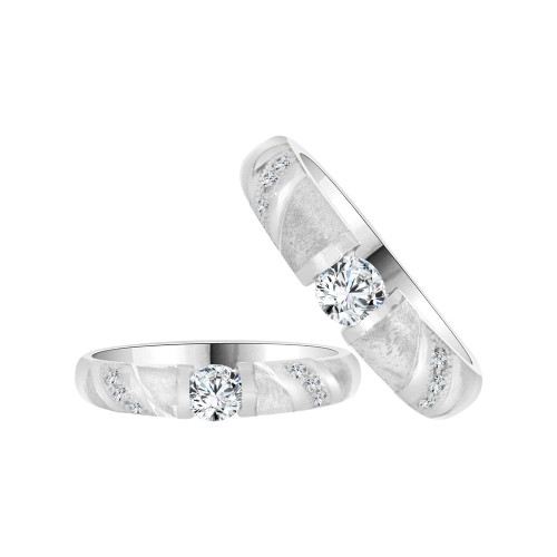 14k White Gold, His & Her Matching Duo Wedding Ring Promise Bands Cubic Zirconia (R056-056)