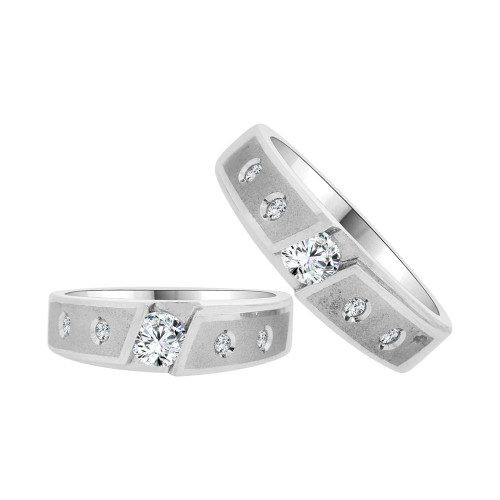 14k White Gold, His & Her Matching Duo Wedding Promise Ring Bands Cubic Zirconia (R056-060)
