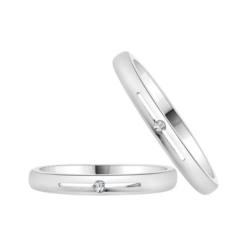 14k White Gold, Dainty Thin Matching Duo Wedding Promise Ring Bands Cubic Zirconia (R056-063)