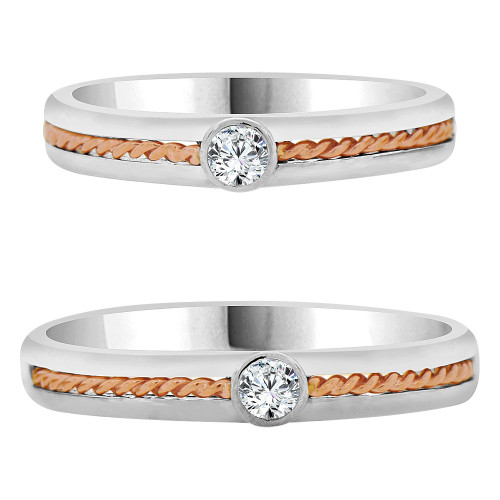 14k White & Rose Gold, Dainty Thin Matching Wedding Promise Ring Bands Cubic Zirconia (R056-064)