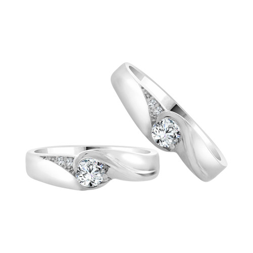 14k White Gold, His & Her Matching Wedding Promise Ring Bands Cubic Zirconia (R056-070)