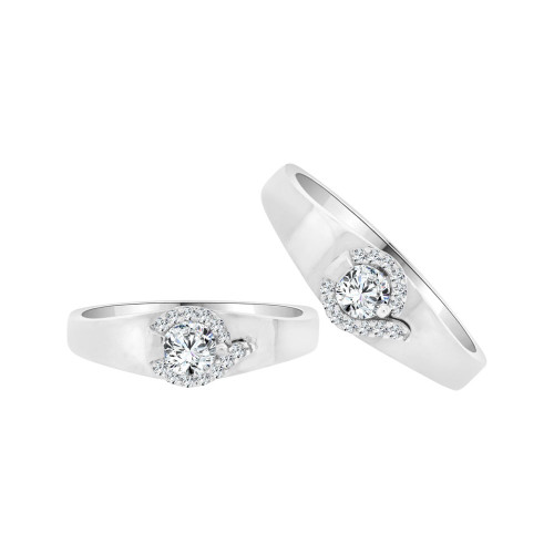 14k White Gold, His & Her Matching Wedding Promise Ring Bands Cubic Zirconia (R056-071)