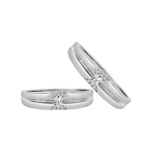 14k White Gold, His & Her Matching Wedding Promise Ring Bands Cubic Zirconia (R056-072)